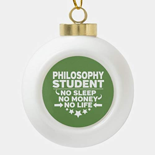 onepicebest Christmas Ball Ornaments for Xmas Tree, Philosophy Student No Life Or Money Ceramic Ball Christmas Ornament Christmas Decorations Hanging Ball for Holiday Party Decoration,Tree Ornaments