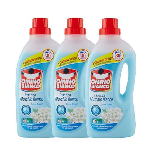 Omino Bianco Detersivo Lavatrice Liquido, Fresco Profumo con Essenza di Muschio Bianco, 90 Lavaggi, 1500 ml x 3 Confezioni