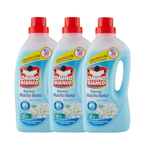 Detergente para lavadora con esencia de almizcle blanco, 3 x 1,5 litros