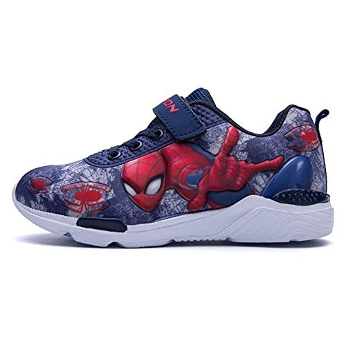 Kdiaodeng Niños Spiderman Otoño Sneaker Boys Transpirable Deporte Zapatillas Running Regalo De Cumpleaños Unisex Sneaker Historieta Al Aire Libre Entrenadores,Blue-