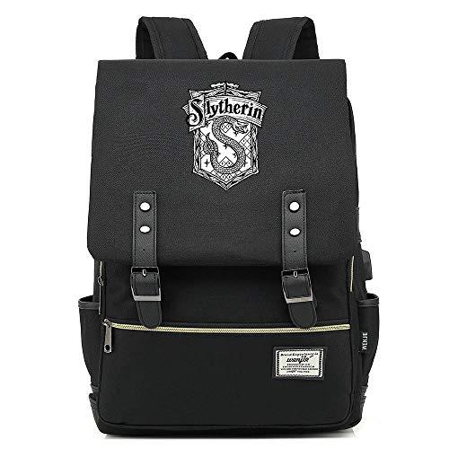 NYLY Retro Reiserucksack Mode Kinder Schultasche Harry Potter Laptop Leinwand Rucksack Slytherin College Unisex Schwarz