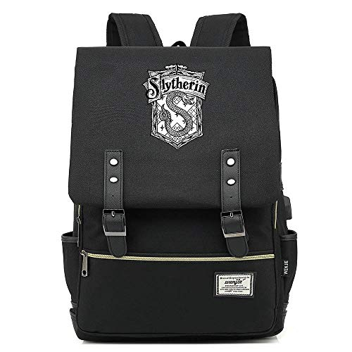 NYLY Retro Travel Backpack Fashion Children's School Bag Harry Potter Laptop Rucksack Slytherin College Unisex Black