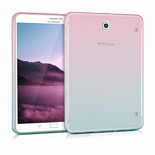 kwmobile Schutzhülle kompatibel mit Samsung Galaxy Tab S2 8.0 - Hülle Silikon - Tablet Cover Hülle - Zwei Farben Pink Blau Transparent