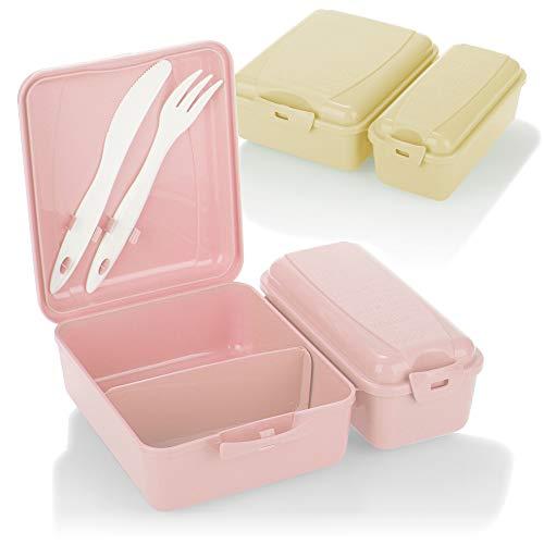 com-four 2X Fiambrera con Dos Compartimentos Separados, Fiambrera, Fiambrera para Llevar, con Cubiertos, Cuchillo y Tenedor en la Tapa (2 Piezas - Beige Rosa)