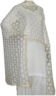 FEMEZONE Women's Chiffon Phulkari Kanchan Embroidered Handwork Dupatta (White, Free Size)