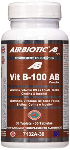 Airbiotic AB - Vit B-100 AB Complex, Vitaminas para la Salud y contra la Fatiga, 30 Cápsulas