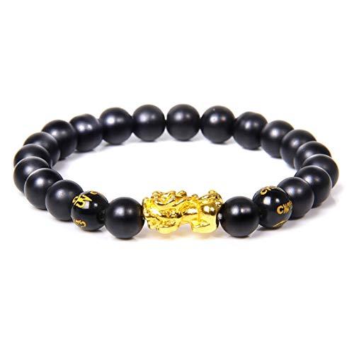 Hombres para mujer Feng Shui Pulsera Suerte Buda Buddha Black Obsidian Pulsera con cuentas Pulsera Hombre Gold Charm Pixiu Pulsera Regalos Accesorios ( Length : 23cm , Metal Color : 17.matte onyx 2 )