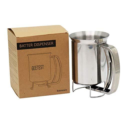 Dispensador de paletas de acero inoxidable de 800 ml, ideal para hornear, magdalenas, crepes de cocina, gofres, caño Easyflow, medidor de medición en ml y tazas.