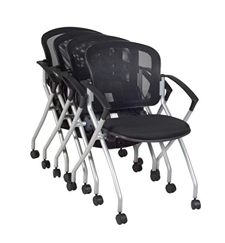 Regency Etta Nesting Chair with Flip-Up Seat, Set of 4, Black
