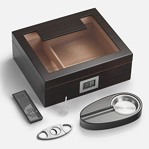 Woodronic Handmade Cigar Humidor with Digital Hygrometer for 35 to 50 Counts, Glass Top Spanish Cedar Lined Cigar Box Set with Humidifier Cutter Ashtray and Cedar Divider