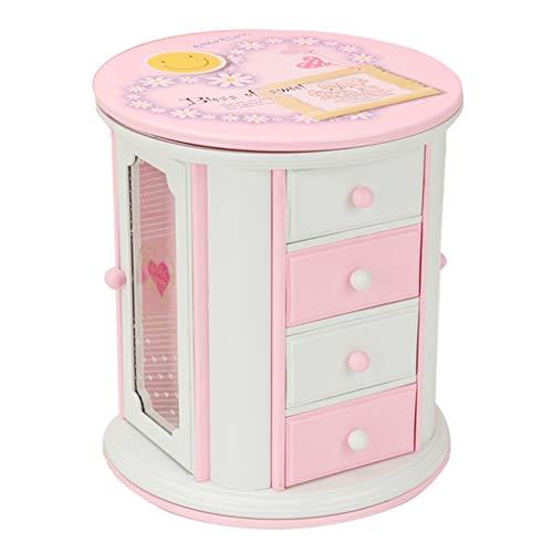 kerryshop Caja Musical Caja de música con cajón de Almacenamiento de música Rosa for niña Caja de música Regalo de Cumpleaños
