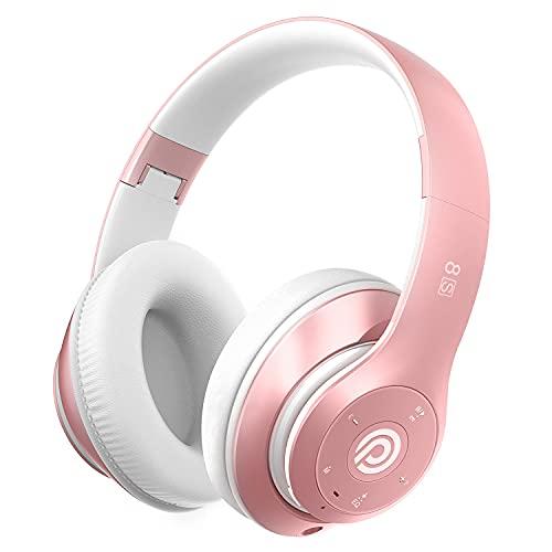 8s Cuffie Bluetooth, Cuffie Over Ear con 50 ore di Riproduzione, Cuffie Bluetooth 5.0 Wireless con Microfono CVC 8.0, Driver da 57mm e Audio stereo Hi-Fi, Padiglione Super Morbido per Corso Online