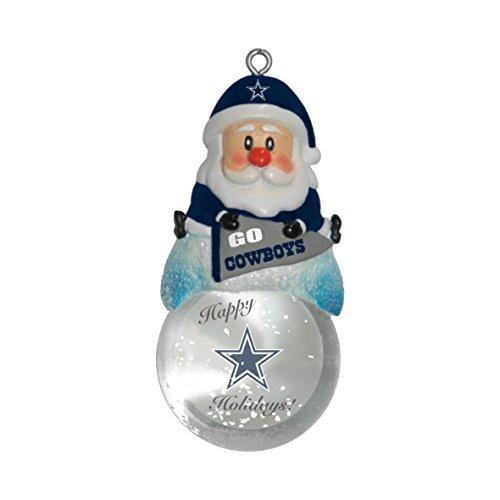 "NFL Dallas Cowboys Snow Globe Ornament, Silver, 1.5"""