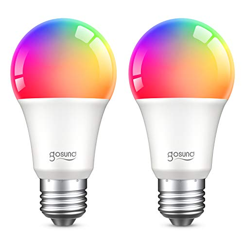 E27 Glühbirne, Gosund Alexa Lampe Wlan Mehrfarbige Dimmbare Lampe Kompatibel mit Amazon Alexa Echo, Echo Dot Google Home Kein Hub Erforderlich Smart Birne Glühbirne (2-pack real)