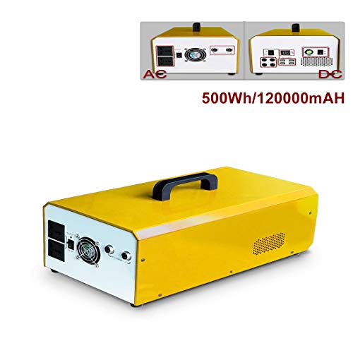 L-KCBTY Solargenerator Ladegerät Tragbares 500Wh 120000mAh Portable Power Emergency Lithium Batterie Netzteil 220V - 230V Mit Solarpanel Für Outdoor Camping Travel Notfall-Backup Energiespeicher