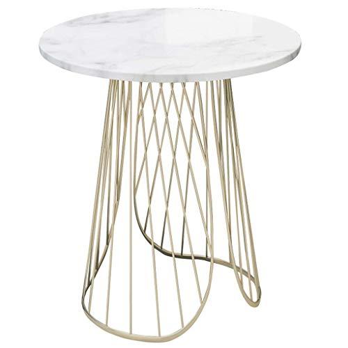 N /A Kreativer Couchtisch, hohles Design, Naturstein-Tischplatte, Foriving Room, Balkon, Schlafzimmer, rund, weiß