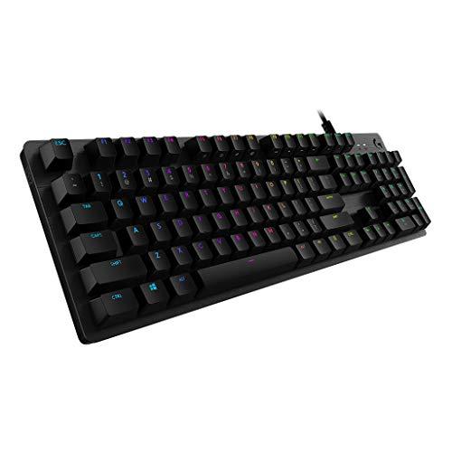 Logitech G512 Mechanical Gaming Keyboard,RGB Lightsync Backlit Keys,GX Brown Tactile Key Switches,Brushed Aluminum Case,Customizable F-Keys,USB Pass Through - Black