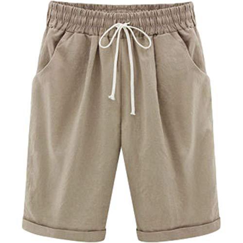 Pantalones Cortos Deportivos con Cintura elástica para Mujer, Pantalones Cortos Informales básicos, cómodos y Finos de Moda L