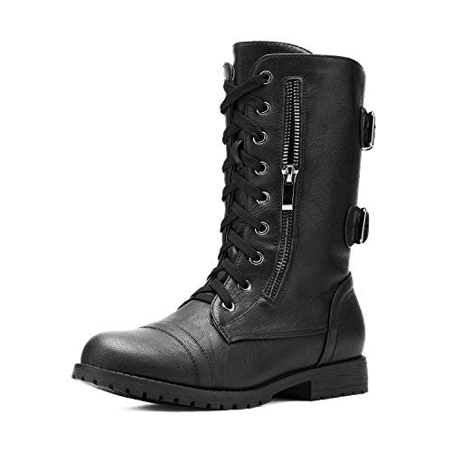 DREAM PAIRS Women's Terran Black Mid Calf Built-in Wallet Pocket Lace up Military Combat Boots - 8.5 M US