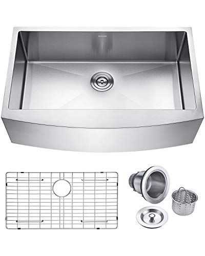 Keonjinn Kitchen Sink, 33-inch Apron-front Farmhouse 16 Gauge Stainless Steel Single Bowl