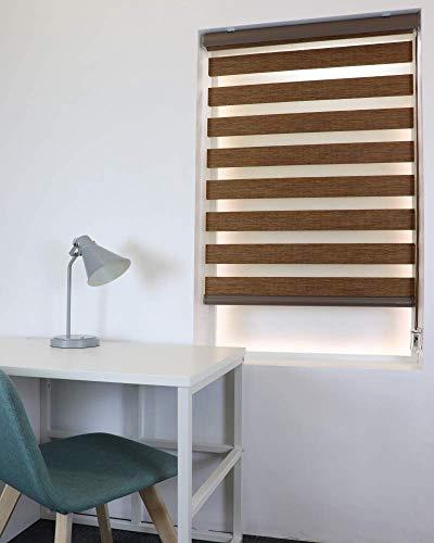 TAKIBLIND オーダーメイド 調光 ロールスクリーン (0.5cm単位 サイズ指定無料) ロール カーテン ブラインド (W200 x H210(cm)、木目調ブラウン)