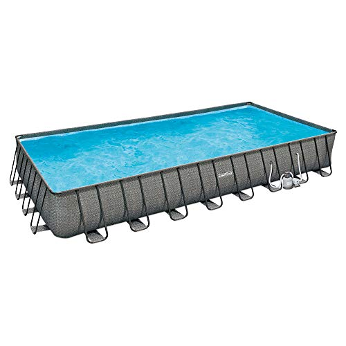 Summer Waves P43216521 32ft x 16ft x 52in Outdoor Rectangular Frame Above Ground Swimming Pool Set w/Sand Filter Pump, Cover, Ladder, & Ground Cloth