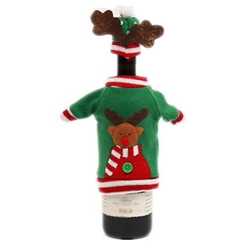 MOHAN88 Cubierta de Vino de Navidad Decoración de Mesa de Cena Bolsa de Vino Tinto Tela de Tela Juego de decoración de Festival de Regalo Encantador - Rojo y Verde