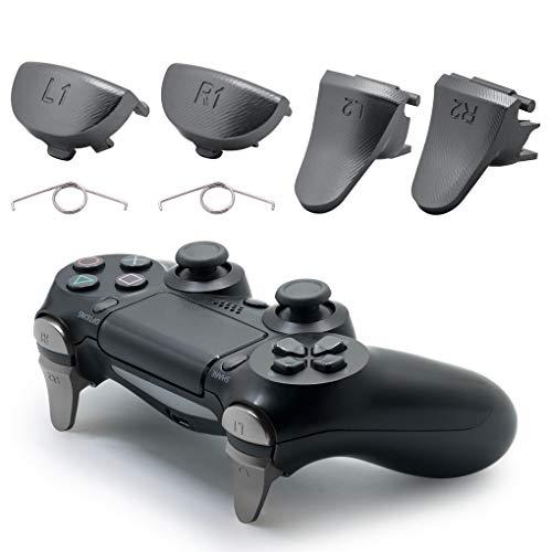 TOMSIN Ersatz-Trigger für PS4 Slim / PS4 Pro Controller, Aluminium Metall L1 R1 L2 R2 Trigger Buttons für PS4 Controller Gen 2 (Dunkelgrau)