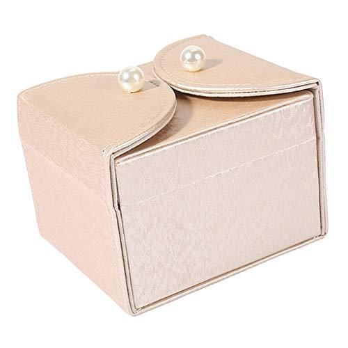 Baoblaze Caja de Viaje Portátil para Organizador de Joyas, Caja de Viaje Portátil para Mujeres-4.2 X 3.6 X 3.2 Pulgadas - Oro