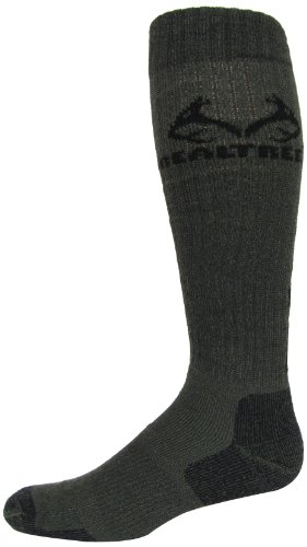 Realtree Outfitters Men's Ultra-Dri All Season Tall Boot Socks (1-Pair), Olive, Large