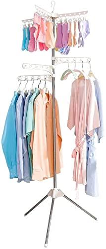 Faltbare Kleidung Trockengestell, zusammenklappbares Stativ, Mantelbügel Ecke Kleidungsstück Lagerregalstand Tragbare Wäscherei Organizer Indoor Outdoor-3 Aufhänger + 24 Clips