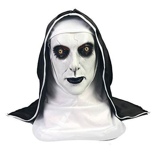 FRECOCCIALO Máscara de Halloween Látex Máscara Terror Monja Disfraz Máscara Cosplay para Halloween Fiesta Temática Carnaval (Monja 1, 61cm)