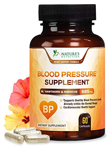 Blood Pressure Support Supplement with Hawthorn and Hibiscus 685mg - Heart Health Vitamins - Made in USA - Best Natural Extra Strength Heart Support with Garlic - 60 Capsules