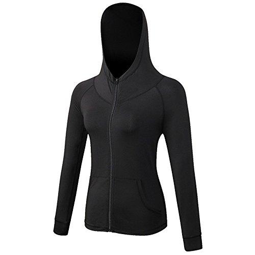 Selighting Damen Langarm Laufjacke Hoodie Sweatshirt Trainingsjacke für Yoga Fitness Laufen (Schwarz, L)