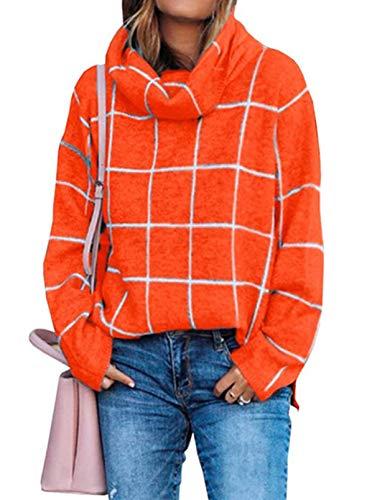 LOSRLY Damen Rollkragenpullover mit hohem Saum, seitlicher Schlitz, bequeme Oberteile, für Herbst und Winter Gr. M, Orange