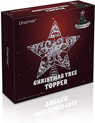 Unomor Christbaumspitze Weihnachtsbaum Stern – Silber Glitzer Metall Baum Stern Großartiges Design Passend für durchschnittlich großeWeihnachtsbäume, 26cm mit Frühling für 6ft bis 7ft Weihnachtsbaum