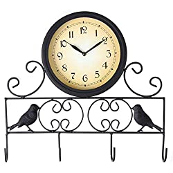 Lily's Home Sparrow Bird Wall Clock Key Holder Storage Hook Rack Combo, Black Wrought Iron