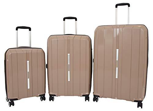 Durable 4 Wheel Suitcases Hard Shell Luggage Expandable TSA Lock Zipped Travel Bags HLG830 Brown (Full Set (Cabin+Medium+Large))