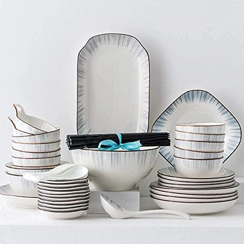Juego de platos, Conjuntos de vajilla de porcelana de 56 piezas: platos de cena y conjuntos de tazones, platos de cerámica Servicio de fijación para 12, viajes a través de la serie de tiempo y espacio
