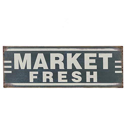 """Barnyard Designs Market Fresh Retro Vintage Tin Bar Sign Country Home Decor 13.75"""" x 5"""""""