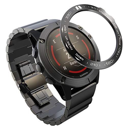 ibasenice Anel Bisel de Aço Inoxidável Compatível com Garmin Fenix 5X – Capa Protetora para Relógio Antiarranhões Chique Acessórios para Relógio