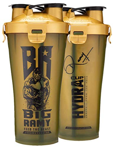 Hydracup Big Ramy Dual Shaker - 36oz High Performance Dual Shaker Bottle, Patented PRE + Protein Shaker Cup, Leak Proof, Awesome Colors, Save Time & Be Prepared.