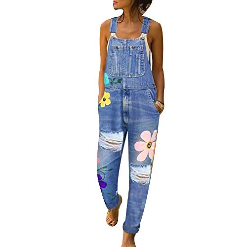 OEAK Damen Jeanslatzhose Latzhose Jeans Hose Vintage Loose fit Jumpsuit Overall Blumen-Drucken Denim Playsuit Romper