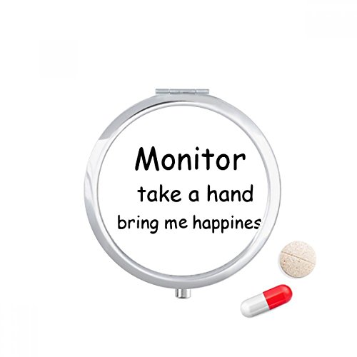 DIYthinker Monitor Take A Hand Bring Me Happiness Travel Pocket Pill case Medicine Drug Storage Box Dispenser Mirror Gift