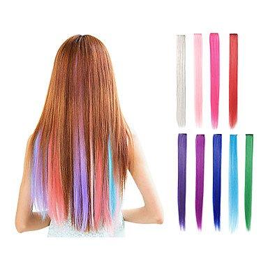 Extensions de cheveux synthétiques à clipser - 9 couleurs - 55,9 cm - Cheveux lisses - Rose, vert, violet, bleu, blond, rouge