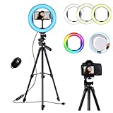 10' RGB LED Selfie Ring Light with Mirror & Extendable Tripod Stand & Phone Holder,Koolertron circle Fill light,Remote Control,Dimmable,3 Lighting Modes,14 RGB Colors,10 Brightness Levels,Live Stream