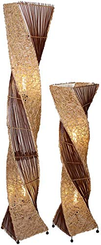 Deko-Leuchte MARCO, hohe Stehlampe aus Natur-Material, gedrehte Form (100 cm)