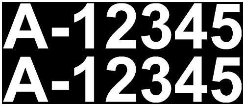 Samunshi® Bootskennzeichen Aufkleber Bootsnummer 2x10cmhoch weiß