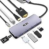 USB C Hub, ICZI Aluminum USB C Adapter 10-in-1 mit HDMI 4K, VGA 1080P, 4 USB 3.0, RJ45 Gigabit...
