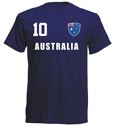 Australien WM 2018 T-Shirt Fußball Trikot Sport - Navy ALL-10 - S M L XL XXL (XL)